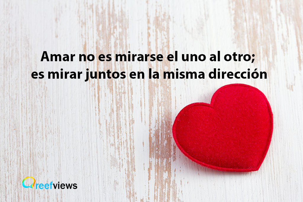 Amar no es mirarse el uno al otro; es mirar juntos en la misma dirección, frases con amor